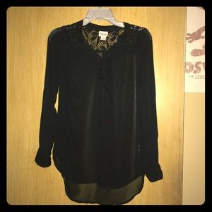 Mossimo see through flowy top LS